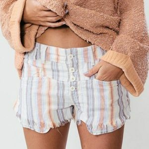 Free People Morning Rain striped cotton shorts 6